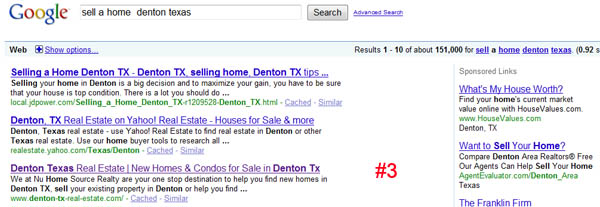 Top Ranking Results from Real Estate