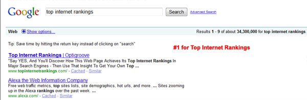 Top Internet Rankings on Google